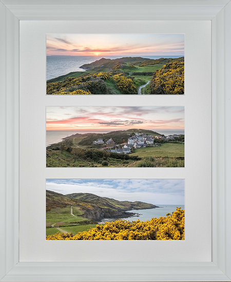 White Wood Framed Triple Mounted Picture - Mortehoe 1