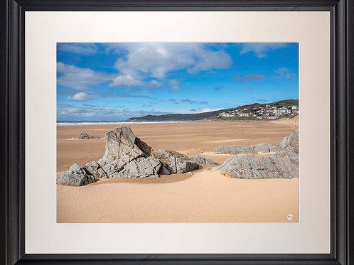 Black Framed Picture - 400 x 500mm - Woolacombe from Mill Rock