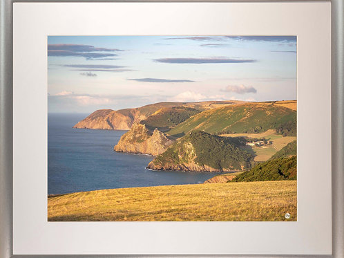 Silver Metallic Framed Picture - 400 x 500mm - Exmoor Coast View to Foreland