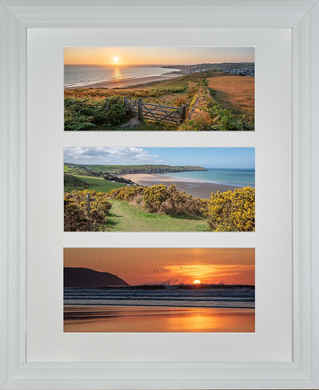 White Wood Framed Triple Mounted Picture - Golden Woolacombe
