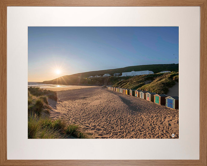 Wood Framed Picture - 400 x 500mm - Saunton Sunset