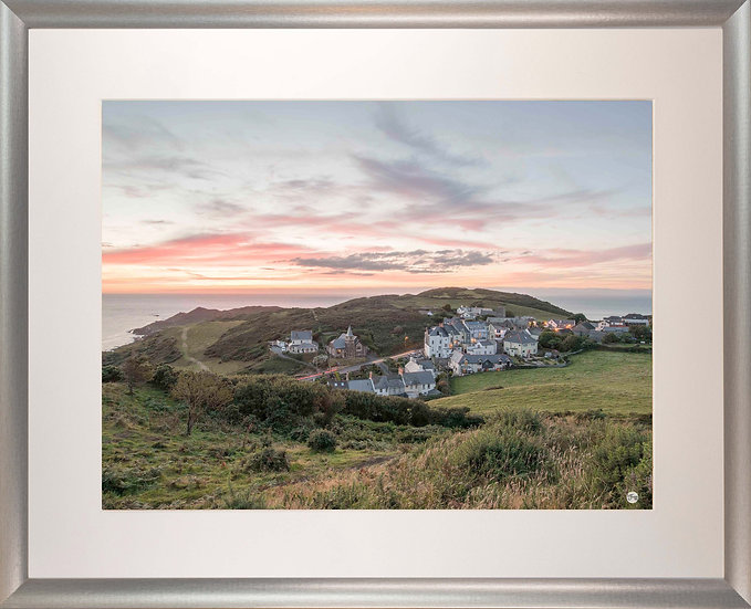 Silver Metallic Framed Picture - 400 x 500mm - Mortehoe Dusk