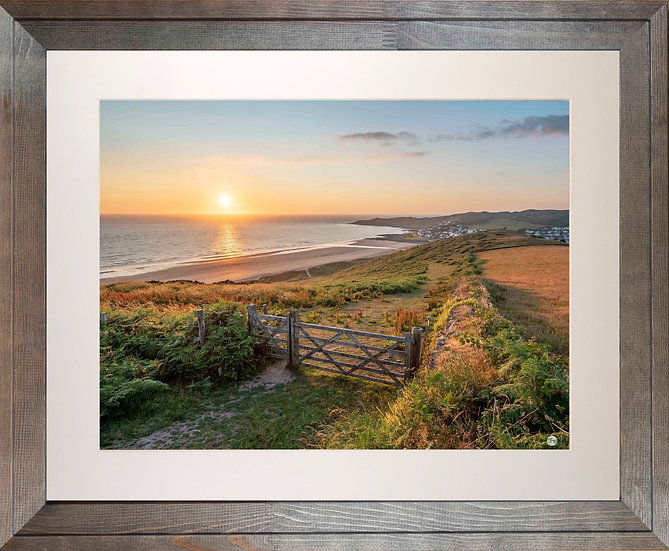 Rustic Wood Framed Picture - 400 x 500mm - Golden Sunset from Woolacombe Down