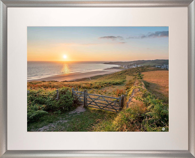 Silver Metallic Framed Picture - 400x500mm - Golden Sunset from Woolacombe Down