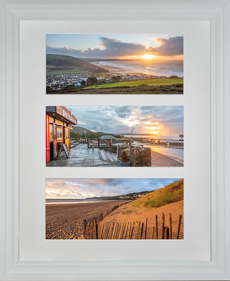 White Wood Framed Triple Mounted Picture - Golden and Red Woolacombe
