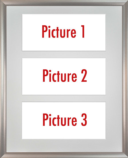 Silver Metallic Framed Triple Mounted Picture - Pick n Mix