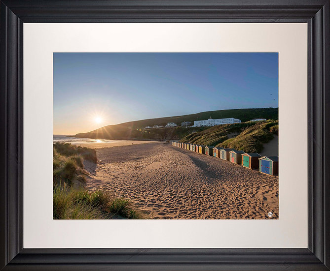 Black Framed Picture - 400 x 500mm - Saunton Sunset