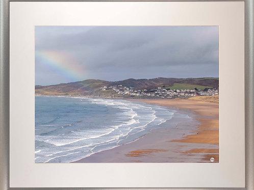 Silver Metallic Framed Picture - 400 x 500mm - Rainbow on Golden Beach