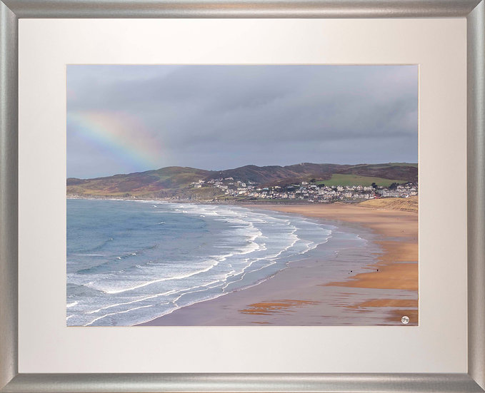 Silver Metallic Framed Picture - 400 x 500mm - Rainbow on Golden Beach