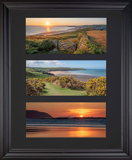 Black Edition - Triple Mounted Picture - Golden Woolacombe