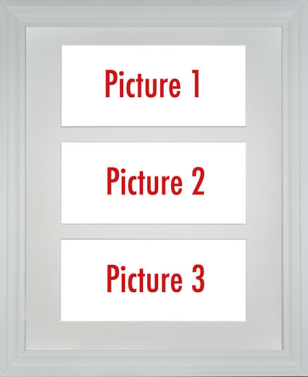White Framed Triple Mounted Picture - Pick n Mix