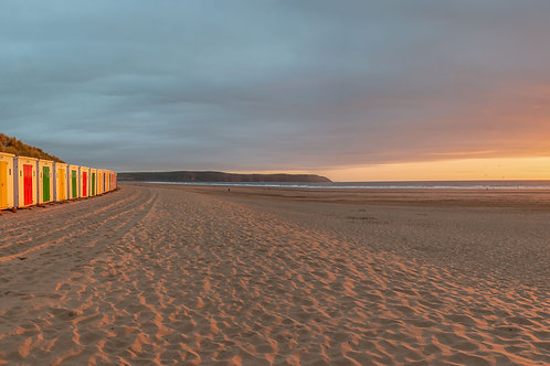 Beach Huts and Baggy Point Sunset