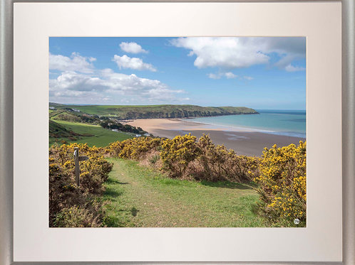 Silver Metallic Framed Picture - 400 x 500mm - Woolacombe Down Junction