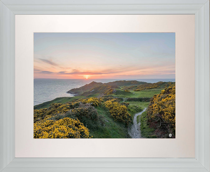 White Framed Picture - 400 x 500mm - Sunset over Morte Point