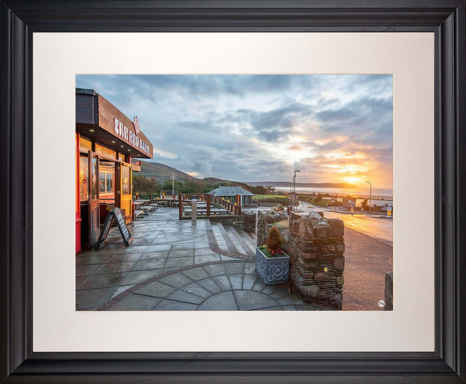 Black Framed Picture - 400 x 500mm - Red Barn Sunset