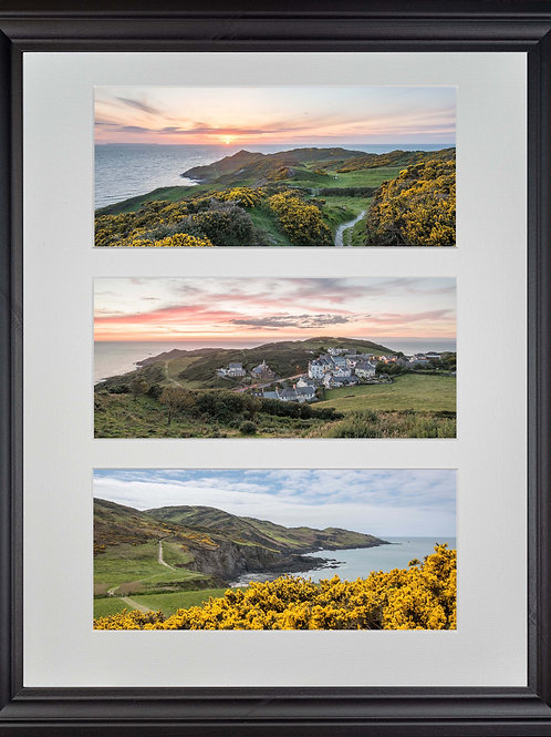 Black Wood Framed Triple Mounted Picture - Mortehoe 1