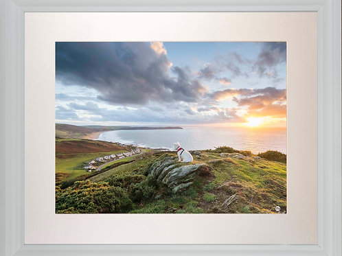 White Framed Picture - 400 x 500mm - Poppy Overlooking Woolacombe