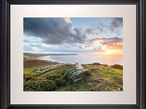 Black Framed Picture - 400 x 500mm - Poppy Overlooking Woolacombe