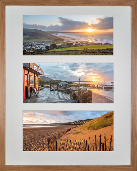 Wood Framed Triple Mounted Picture - Golden and Red Woolacombe