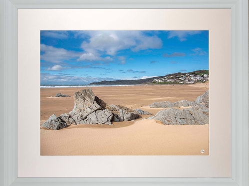White Framed Picture - 400 x 500mm - Woolacombe from Mill Rock