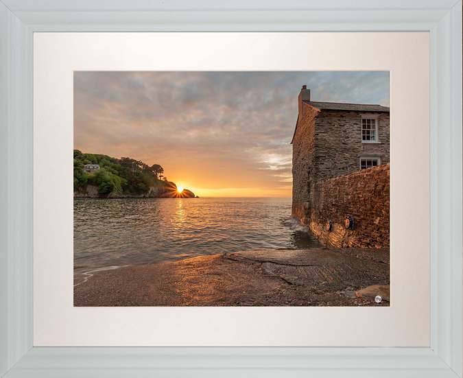 White Framed Picture - 400 x 500mm - Sunset Over Lee from Mill