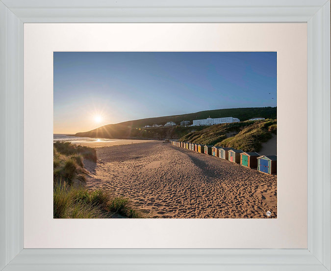 White Framed Picture - 400 x 500mm - Saunton Sunset