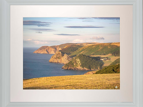 White Framed Picture - 400 x 500mm - Exmoor Coast View to Foreland