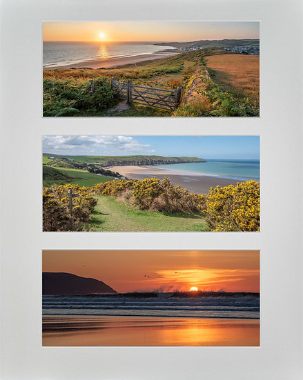 Triple Mounted Picture - Golden Woolacombe