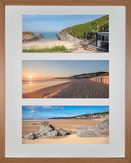 Wood Framed Triple Mounted Picture - Woolacombe Beaches