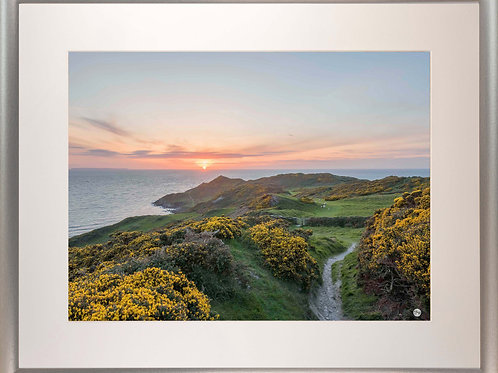 Silver Metallic Framed Picture - 400 x 500mm - Sunset over Morte Point