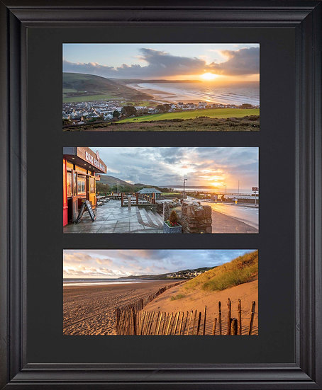 Black Edition - Triple Mounted Picture - Golden and Red Wool