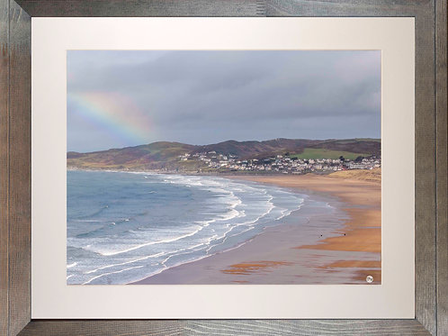 Rustic Wood Framed Picture - 400 x 500mm - Rainbow on Golden Beach