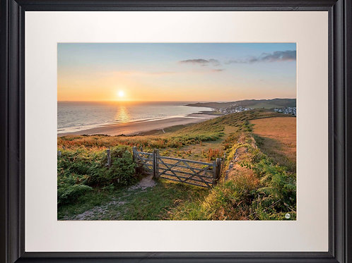 Black Framed Picture - 400 x 500mm - Golden Sunset from Woolacombe Down