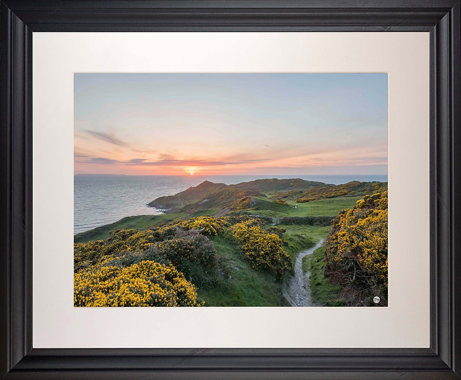 Black Framed Picture - 400 x 500mm - Sunset over Morte Point