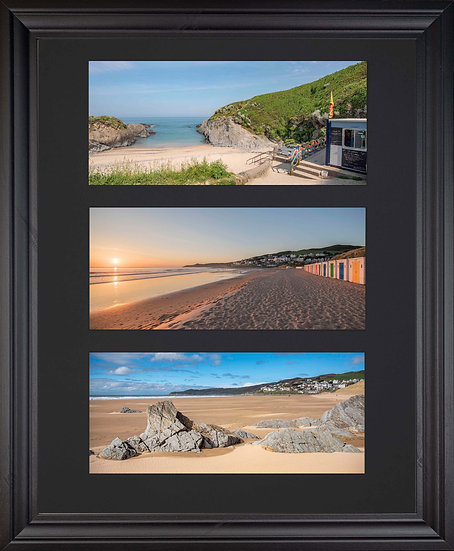 Black Edition - Triple Mounted Picture - Woolacombe Beaches