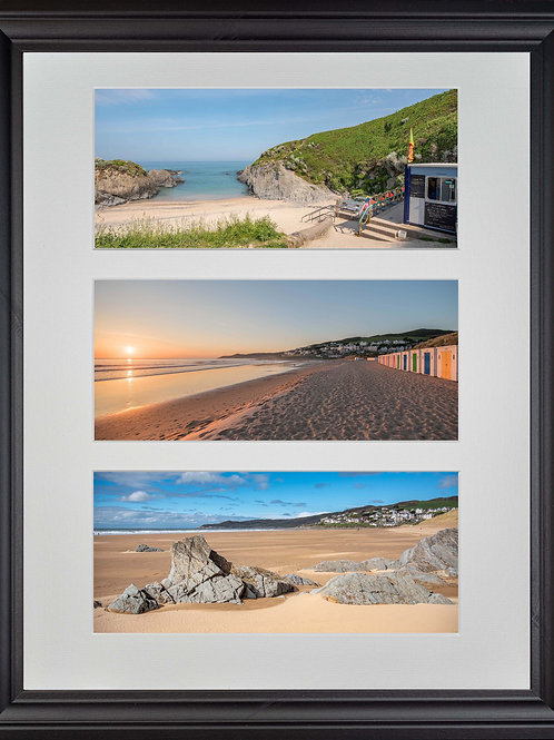 Black Framed Triple Mounted Picture - Woolacombe Beaches