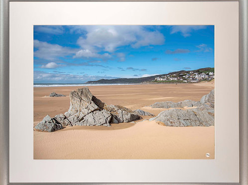 Silver Metallic Framed Picture - 400 x 500mm - Woolacombe from Mill Rock