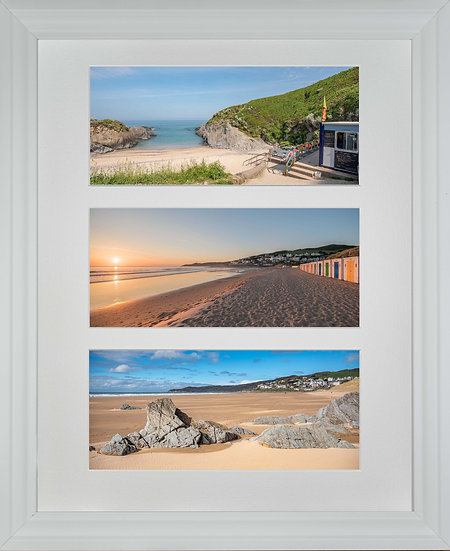 White Framed Triple Mounted Picture - Woolacombe Beaches