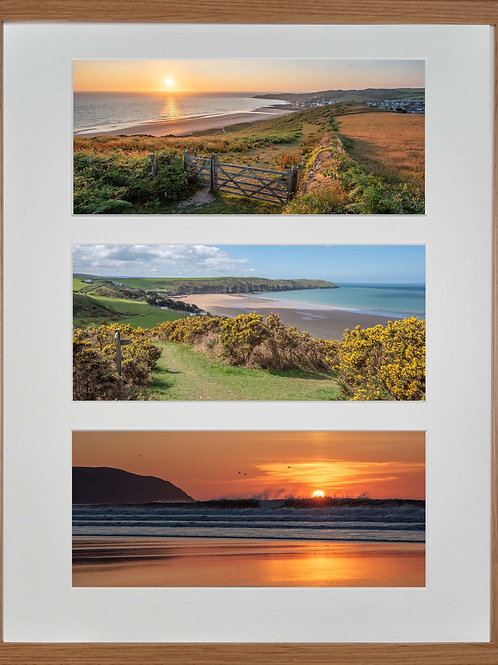 Wood Framed Triple Mounted Picture - Golden Woolacombe