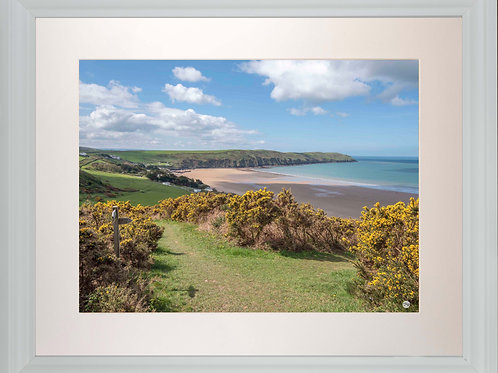 White Framed Picture - 400 x 500mm - Woolacombe Down Junction