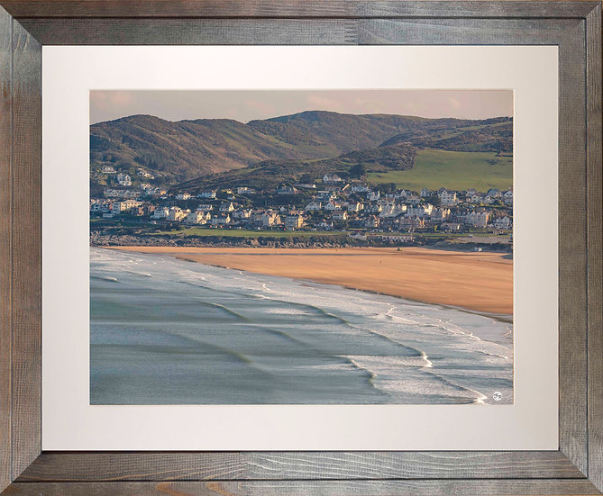 Rustic Wood Framed Picture - 400 x 500mm - Good Morning Woolacombe from Baggy