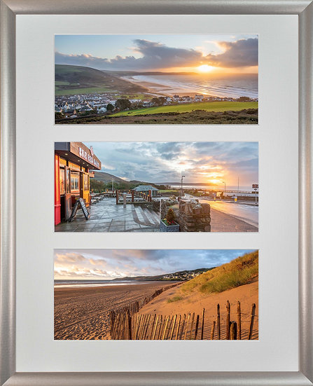 Silver Metallic Wood Framed Triple Mounted Picture - Golden and Red Woolacombe