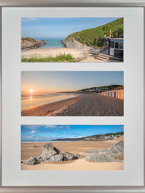 Silver Metallic Framed Triple Mounted Picture - Woolacombe Beaches