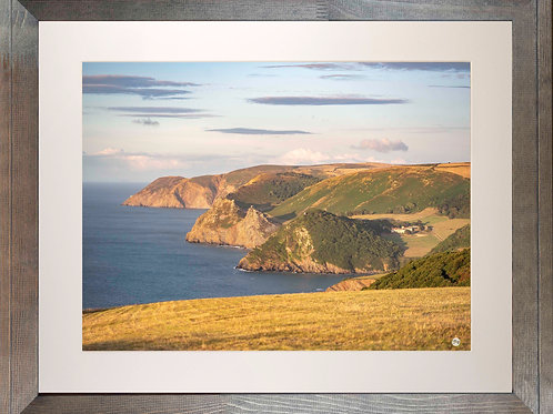 Rustic Wood Framed Picture - 400 x 500mm - Exmoor Coast View to Foreland