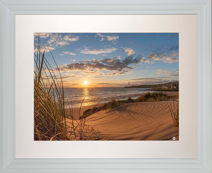 White Framed Picture - 400 x 500mm - Golden Patterns