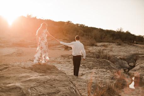 Pedernales Falls Engagement Golden Hour