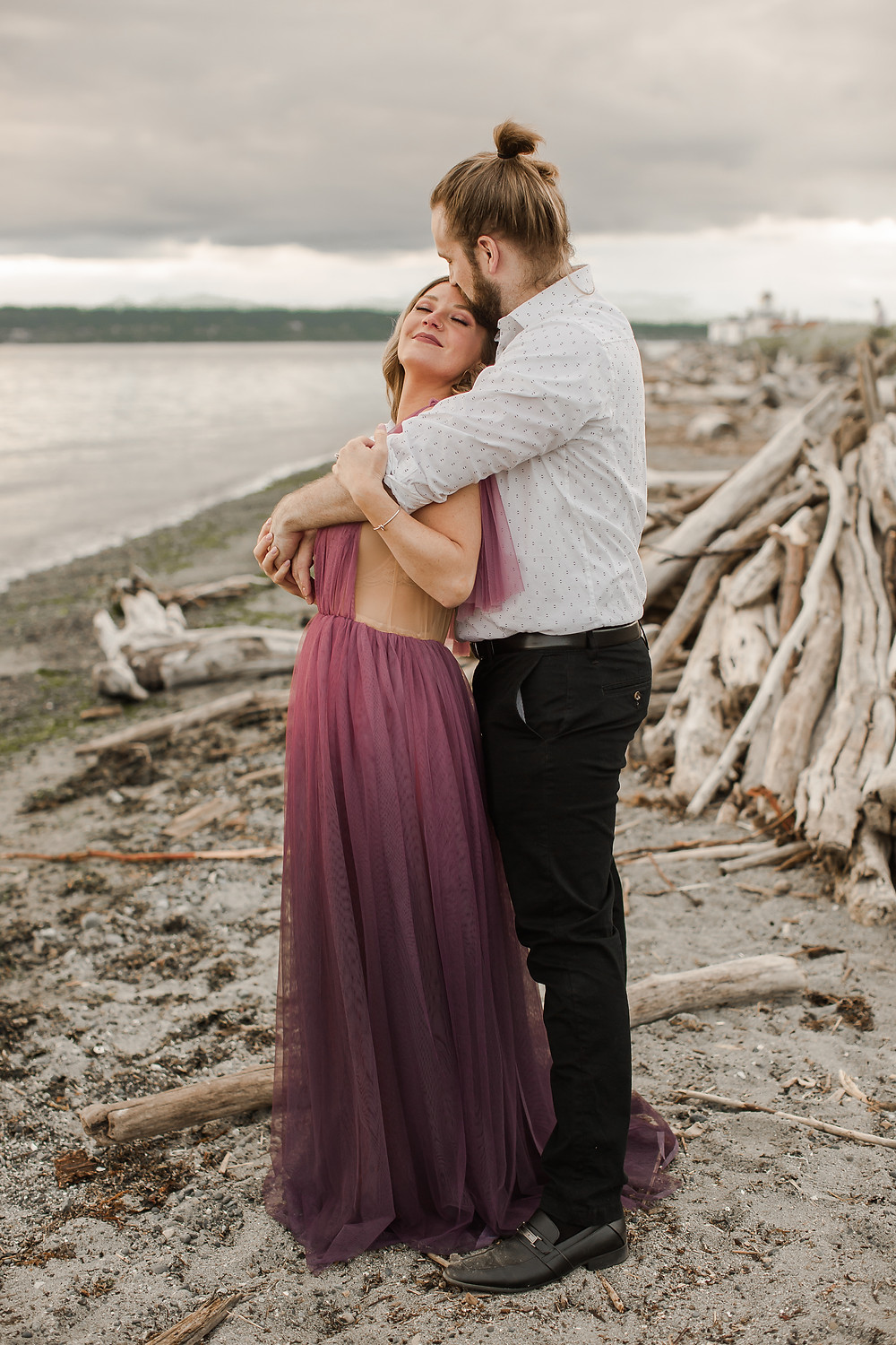 Seattle Beach Elopement at Discovery Park Forehead Kiss