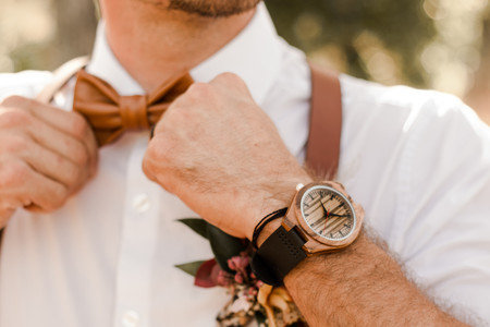 Groom Brown and Black Rustic Wood Watch