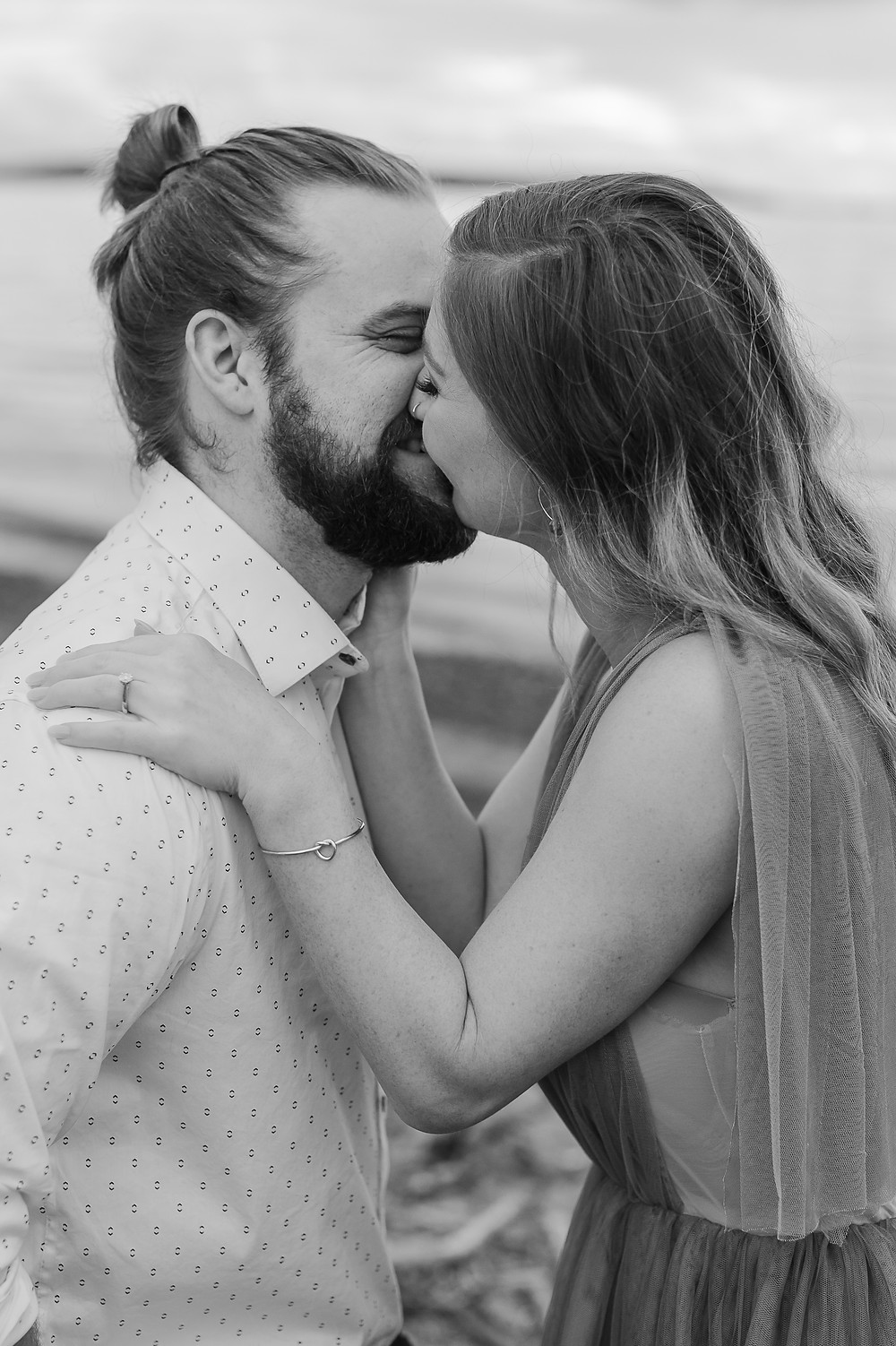 Seattle Beach Elopement at Discovery Park Black and White Kiss With Teeth