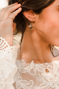 Bride Cognac Earrings Getting Ready Pictures